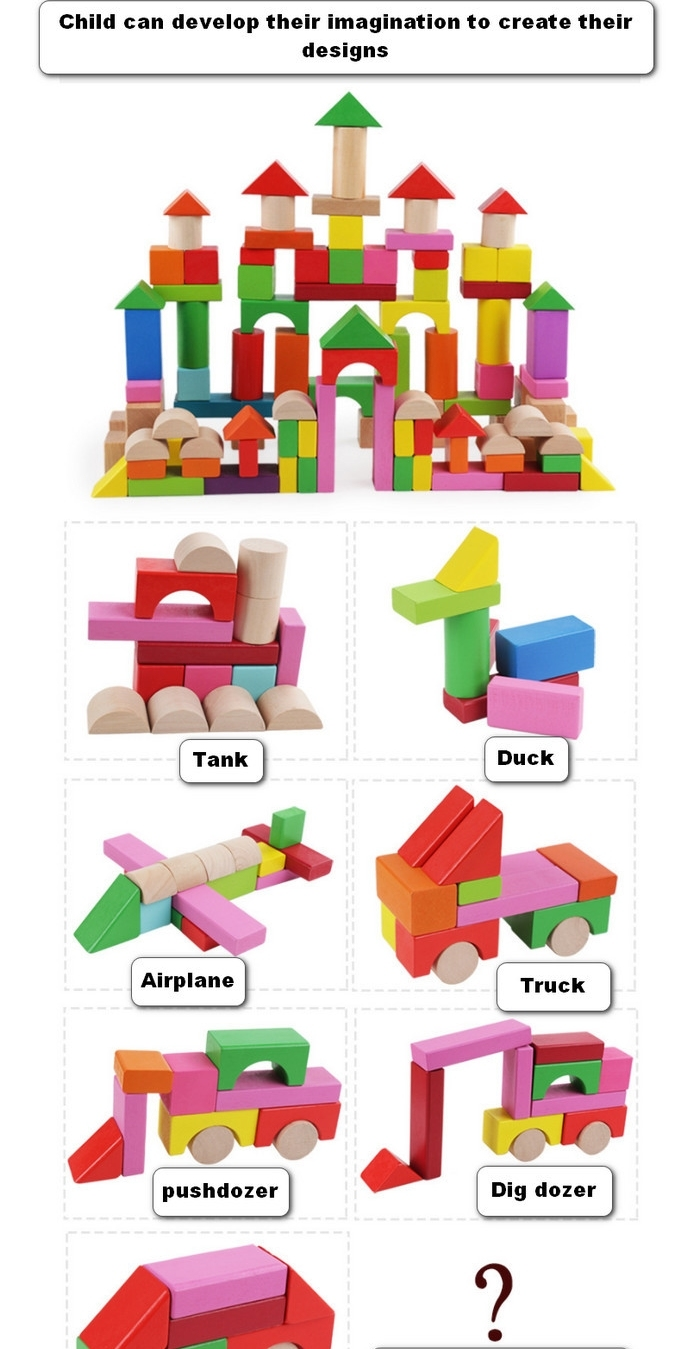 100PCS Children Education Toy Color Shape Recognition Wooden Building Blocks