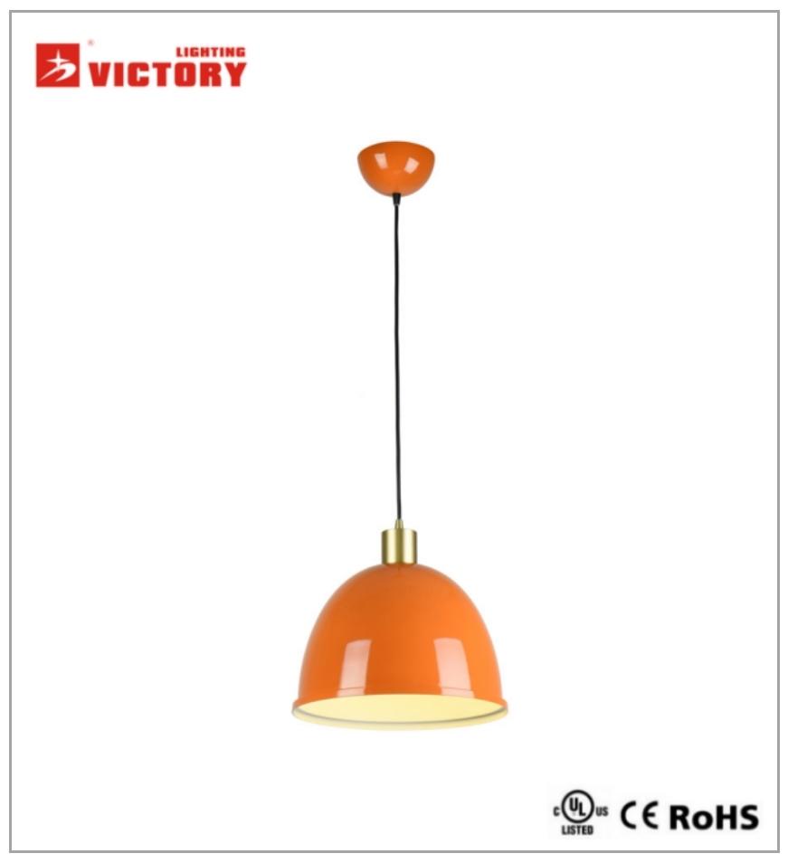 Modern Simple Round Orange Aluminum Single Pendant Light