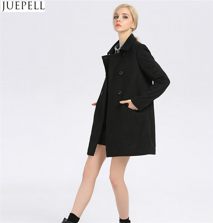 Fashion Ladies Collar Thin Wool Viscose Coat Women European Style Double Breasted Long Sleeve Black Coat