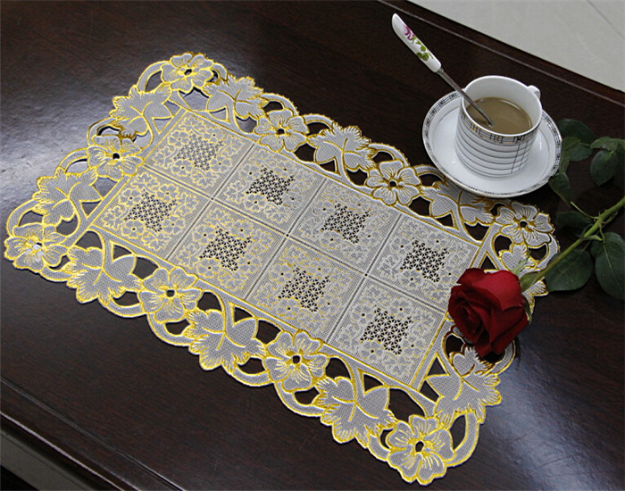 PVC Lace Placemat Coated Gold & Silver/Crochet Doilies