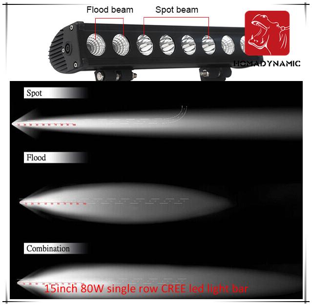 LED Car Light 15 Inch 80W Single Row CREE LED Light Bar Waterproof for SUV Car LED off Road Light and LED Driving Light