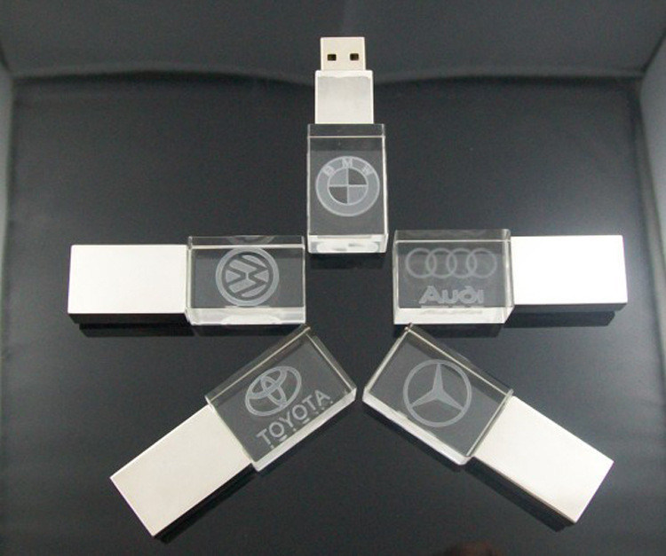 Customized 3D Laser Logo Crystal Flash Memory USB Stick with Color LED Light