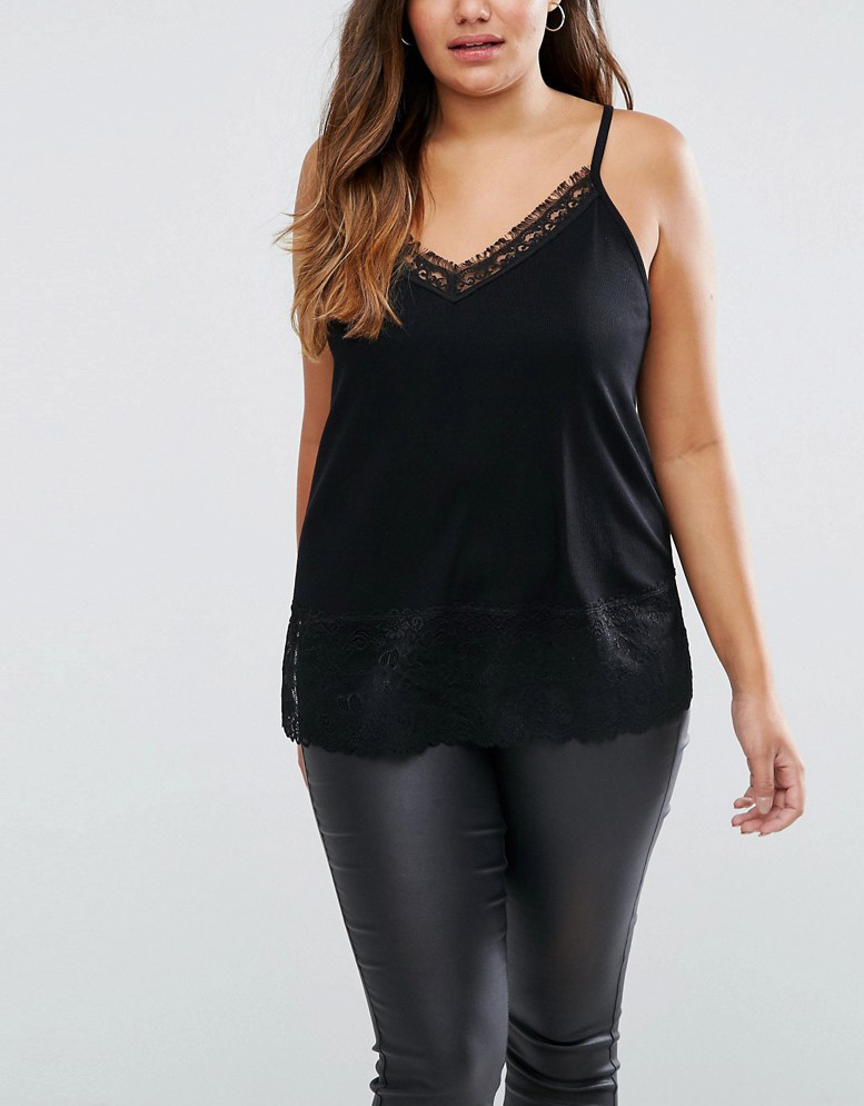 Lightweight Rib with Lace Trim Sexy Fashoin Oversize Women Top