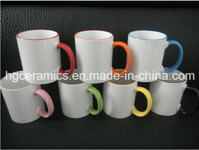 Photo Mug, 11oz Color Rim & Handle Sublimation Mug, Sublimation Two Tone Mug