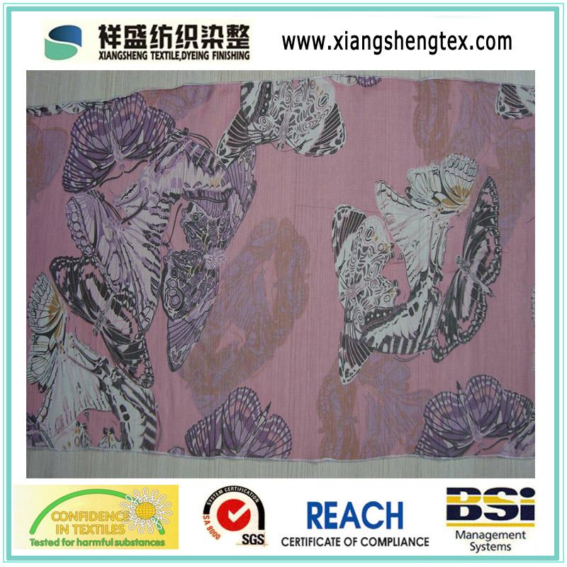 24t High Twist Polyester Chiffon Fabric for Dress (XSFC-001)