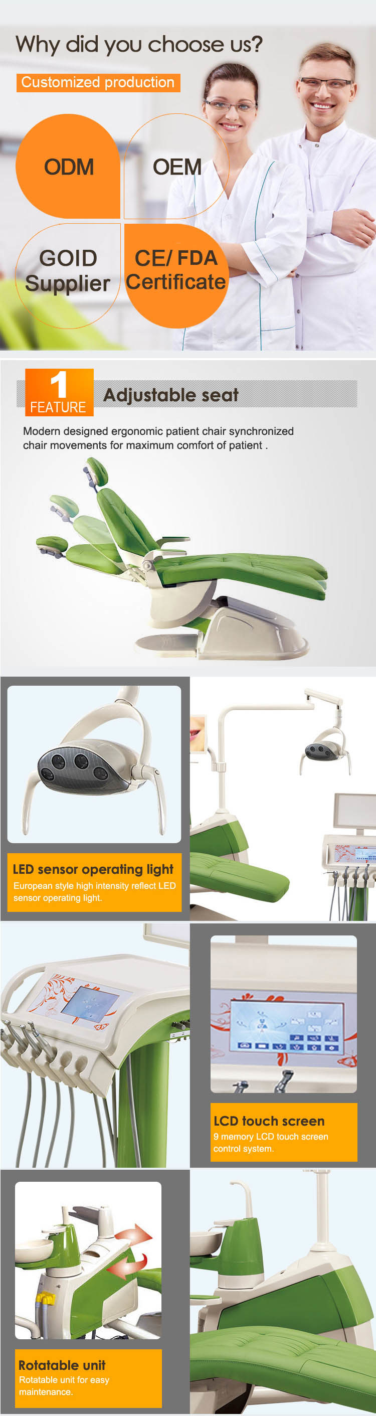 High Grade FDA&ISO Approved Dental Chair Confident Dental Chair/Dental Hygienist Chair/Old Dentist Chair