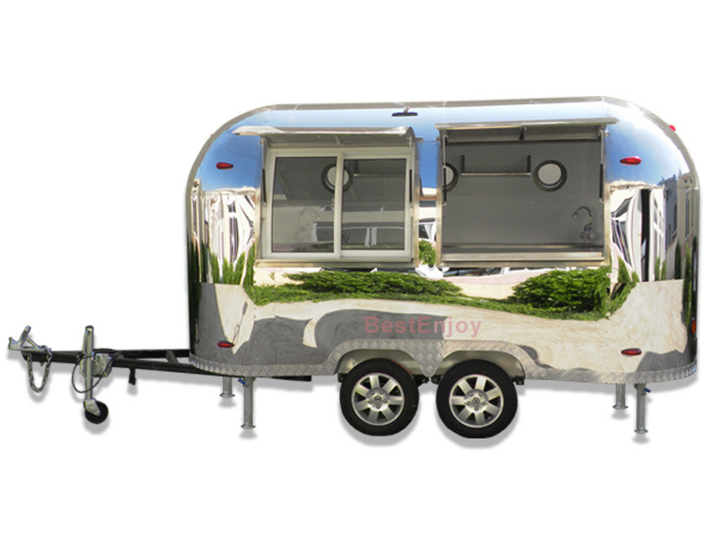 Airstream Shiny Mobile Fast Food Cart Manufacturer Low Price for Sale