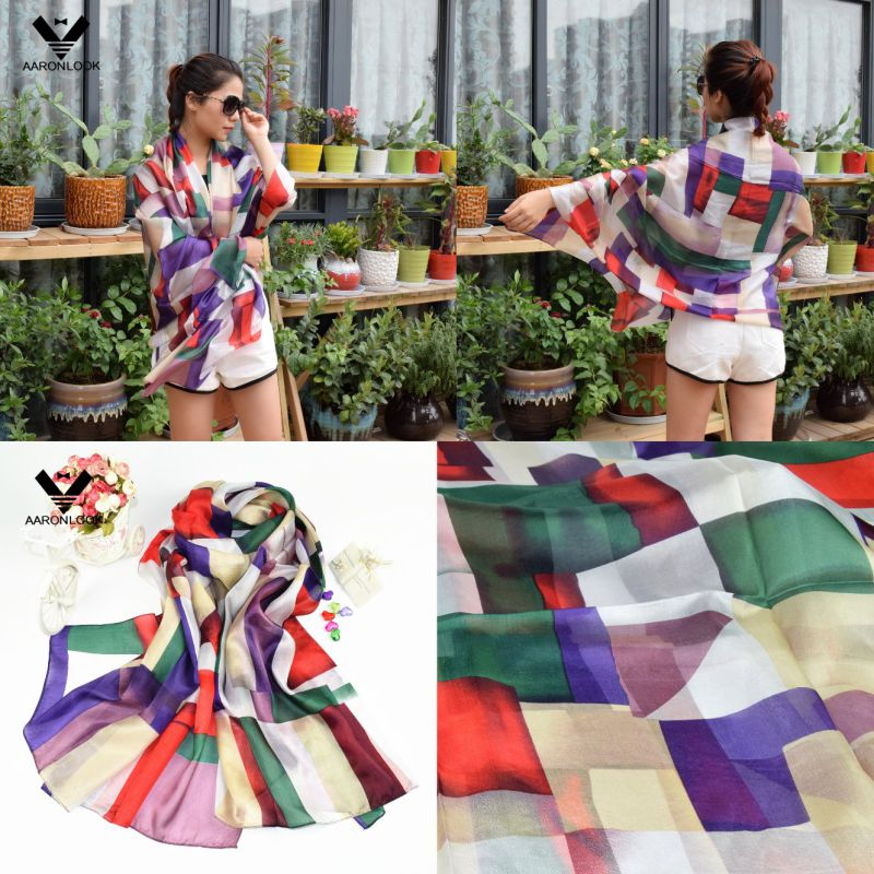 2016 Lady's Luxury Style Colorful Irregular Geometry Printed Silk Scarf