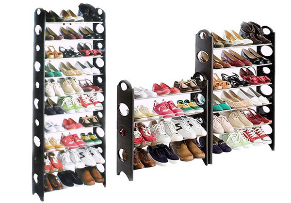 Plastic Stacking Shelf Cheap Shoe Rack with Black Color