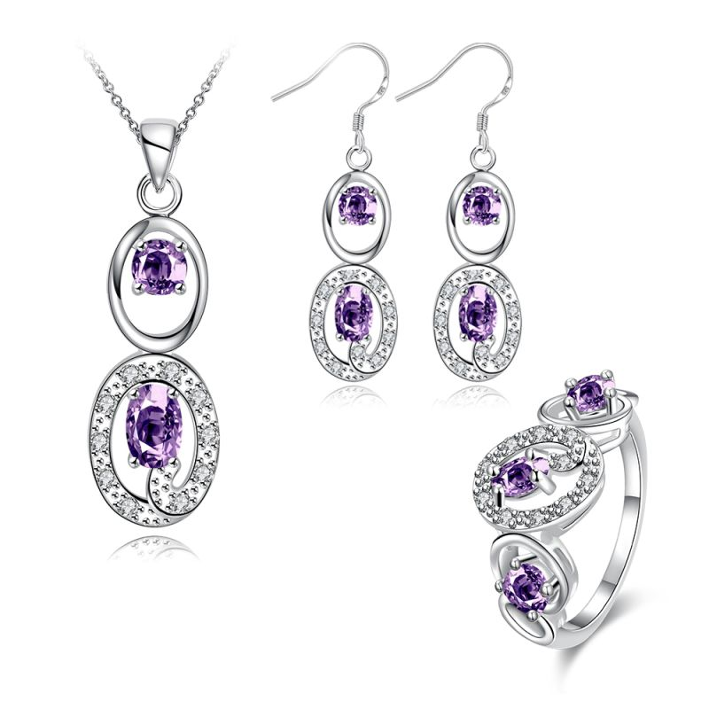 Hot Sale Jewelry Set Zircon Necklace Ring Earrings Silver Plated Jewelry