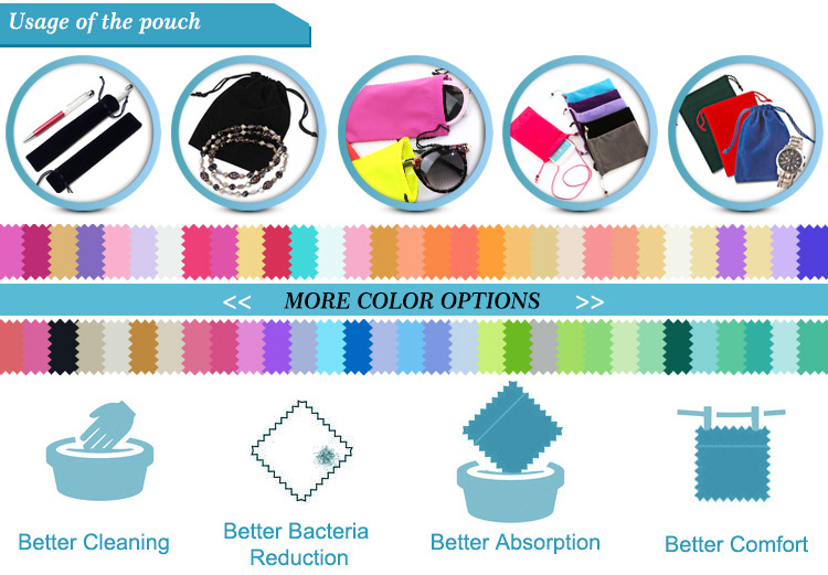 Double Side Drawstring Microfiber Pouches for Jewelry