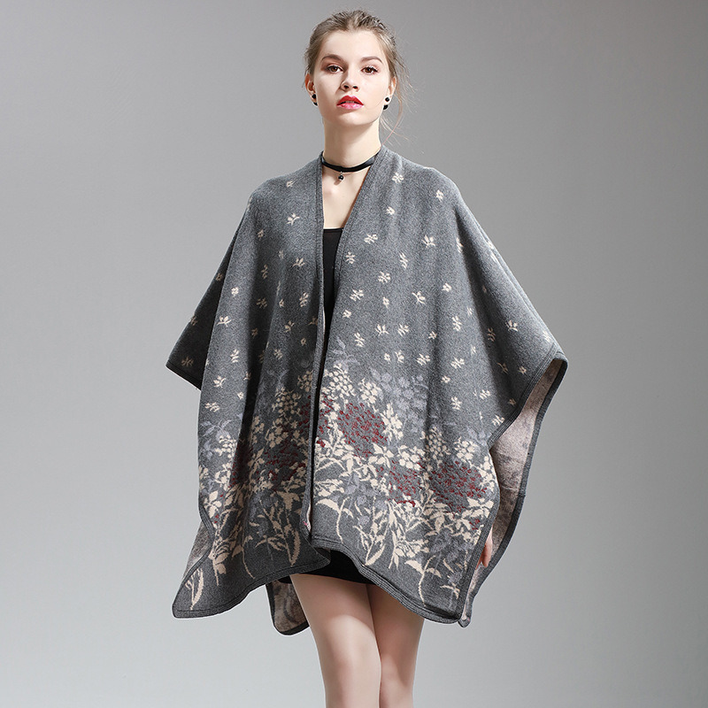 Womens Cashmere Feel Flower Printing Fancy Cape Stole Poncho Shawl (SP297)