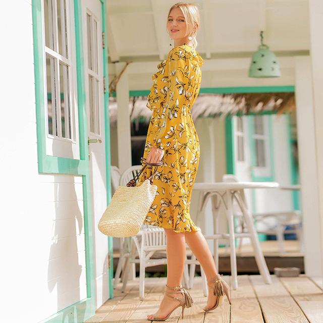 Long Sleeve Chiffon Dress with Ruffles