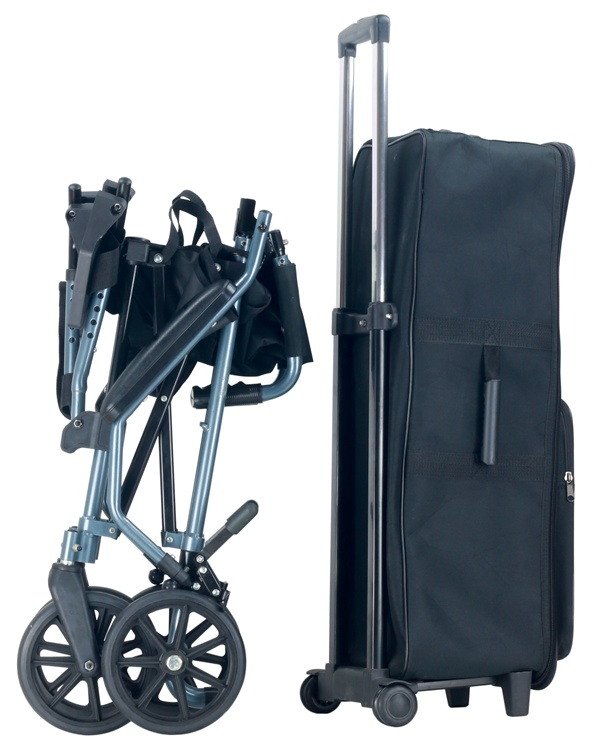 Topmedi Portable Lightweight Transport Wheelchair with Trolley Case