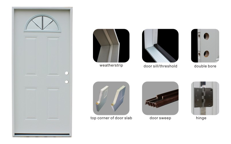 Oval Glass Inserts Toughened Steel Doors