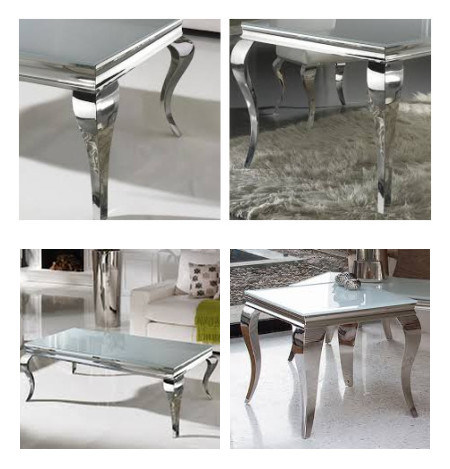 Modern White Glass Top Chrome Stainless Steel Coffee Table for Living Room