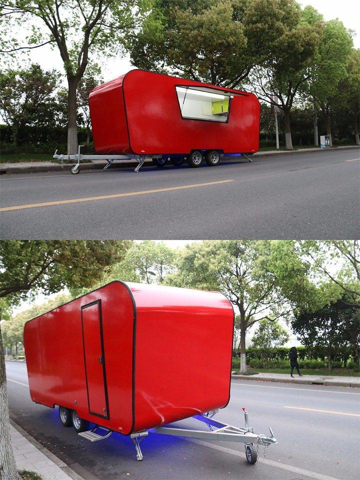 Fiberglass Food Caravan Coffee Cart with Ice Cream Machine