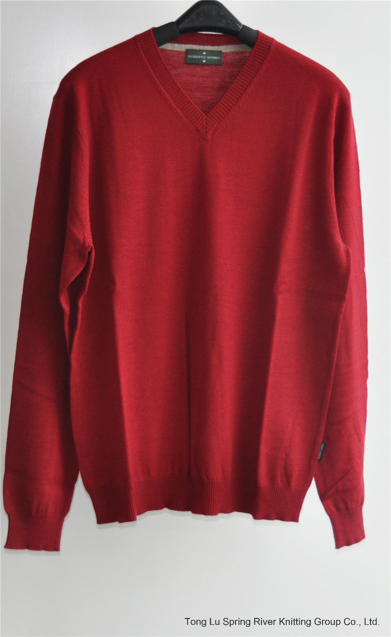 100% Wool Pure Colour V-Neck Kint Pullover Sweater for Man