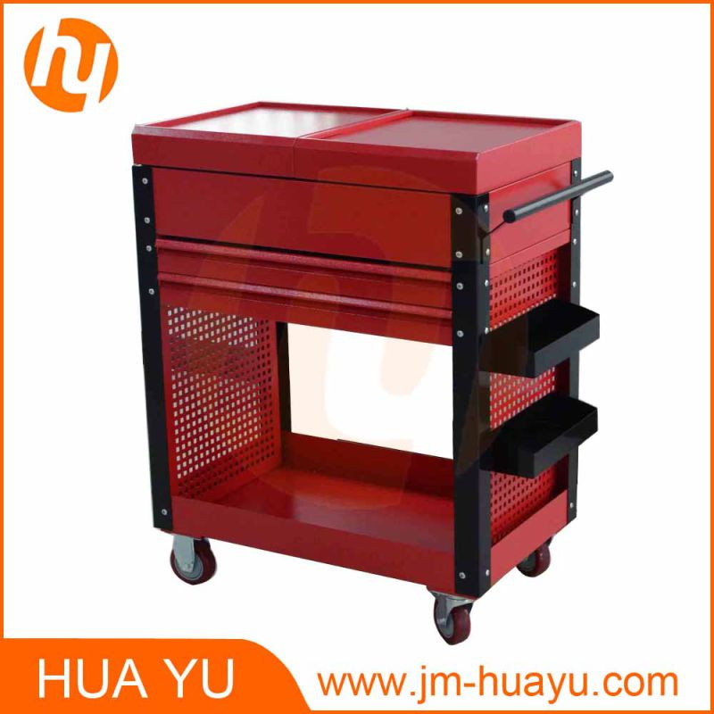 Two Drawers Red Steel Sliding Top Panels Tool Cabinet Tool Chest in Garage and Factory
