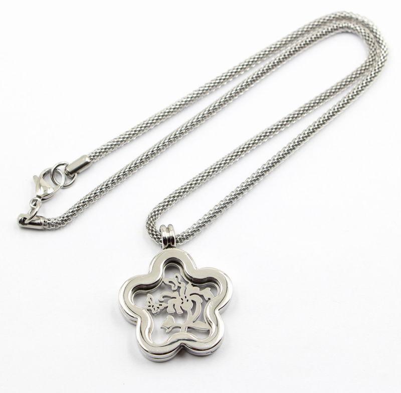 Good Luck Star Glass Locket Pendant Necklace