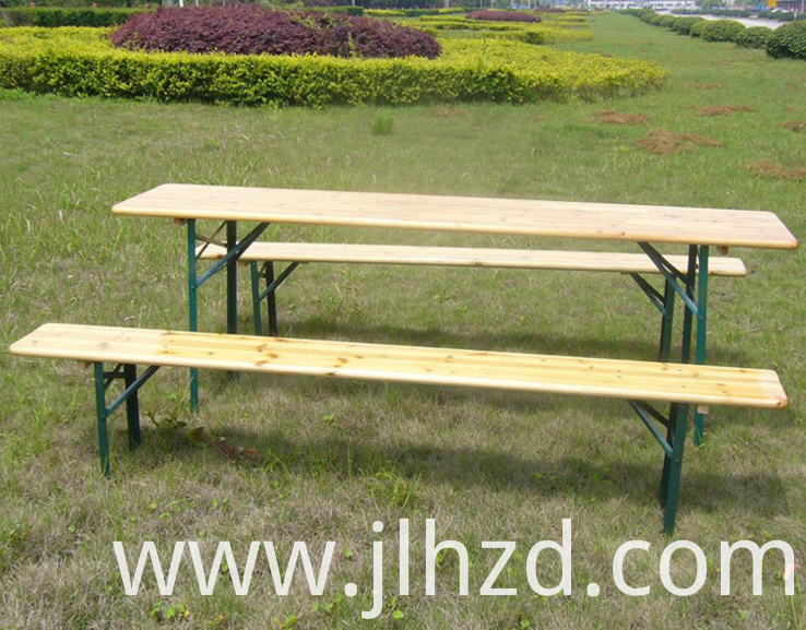 Outdoor wooden beer table