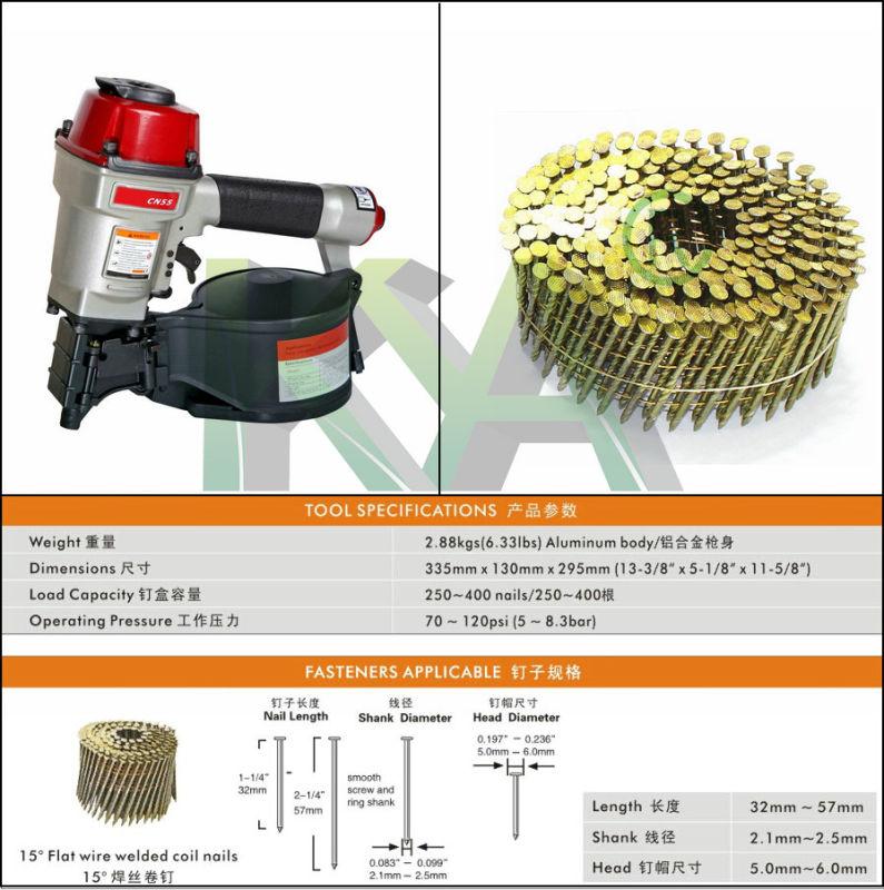 Cn55 Pneumatic Coil Nailer