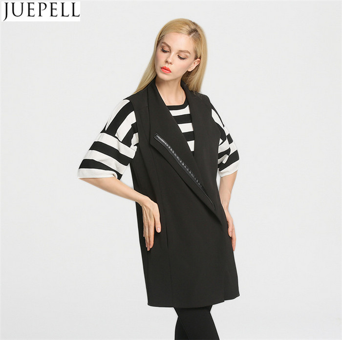 Simple and Elegant European Style Women's Autumn Long Section of Knitted and Woven Collar Long Vest Coat