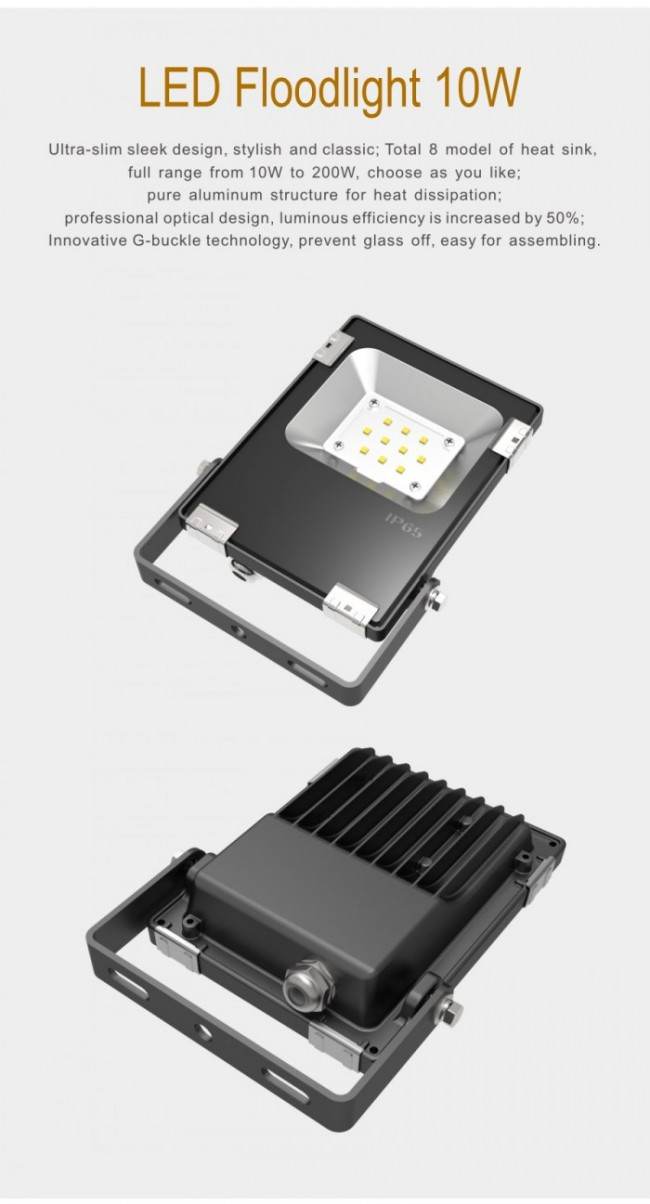 Outdoor 10W LED Floodlight Osram 3030 IP65 Aluminum 5-Year Warranty
