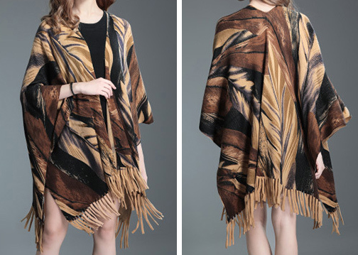 Womens Cardigan Wraps Winter Knitted Leaves Printing Sweater Poncho Shawl (SP621)