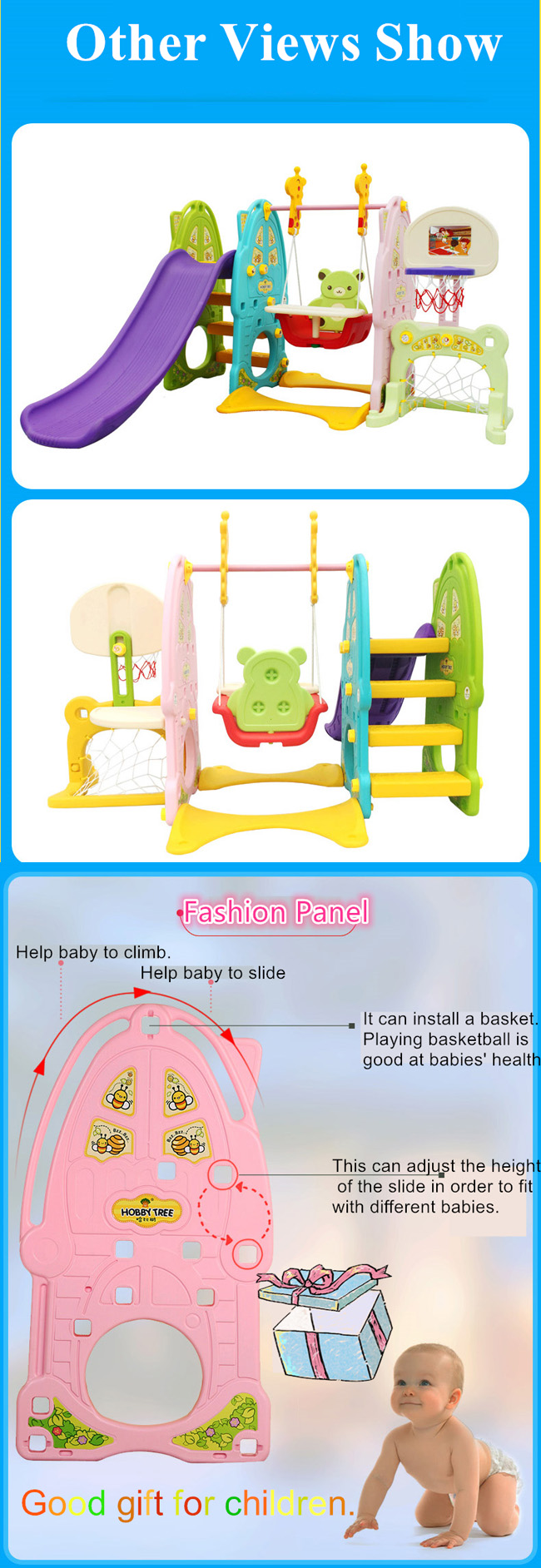 Bear Style Light blue Baby Plastic Slide with Baby Seat and Basket Hoop