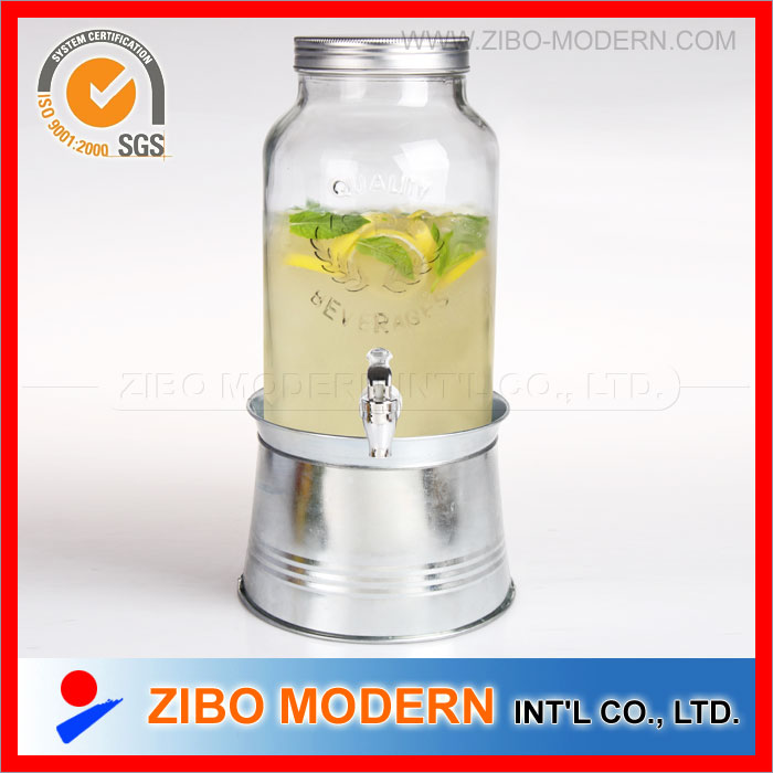 Glass Juice Dispenser with Ice Bucket Base