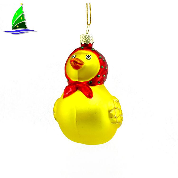 Yellow Duck Glass Ornament
