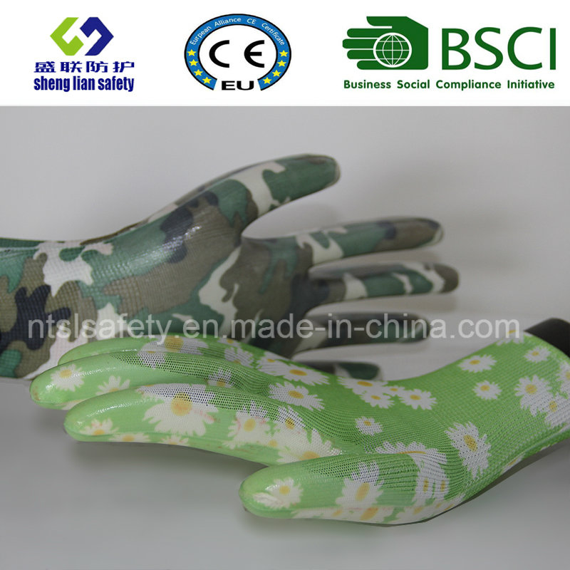 Safety Gloves Nitrile Coated Printed Garden Gloves (GN901)