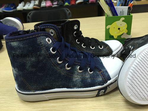 Latest Design Children MID-Cut Injection Shoes Canvas Shoes FF727-2