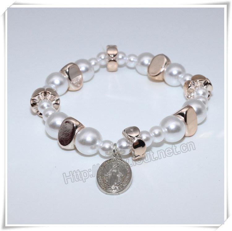 Newest Plastic Beads Bracelets, Catholic Bracelet with Cross (IO-CB175)
