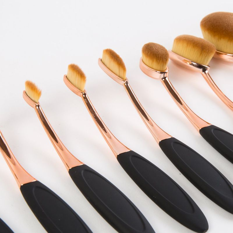 10PCS Professional Oval Private Label Makeup Brush Set with Black Box