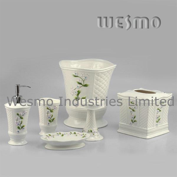 Floral Porcelain Bath Accessories Set (WBC0588B)