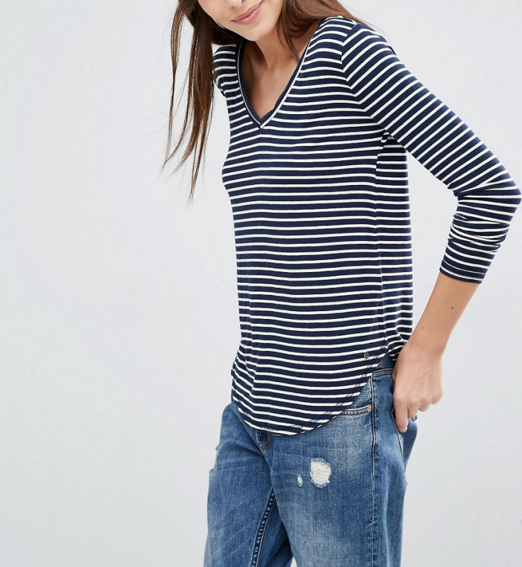 Fashion Custom Wholesale Supersoft Curve Hem Stripe Women Top