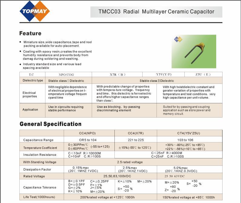 Etopmay Radial Multilayer Ceramic Capacitor