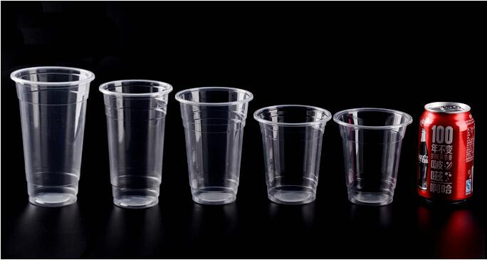 Plastic Clear Cup with Flat Lids for Smoothies