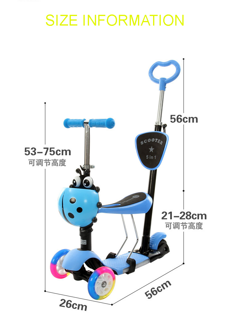 Baby Scooter with 3 LED Wheels