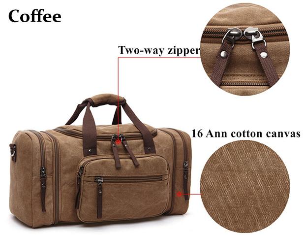 8642 Blue Coffee Black Kahki Zatous Oversized Canvas Travel Duffel Bag with Big Capacity Weekend Bag