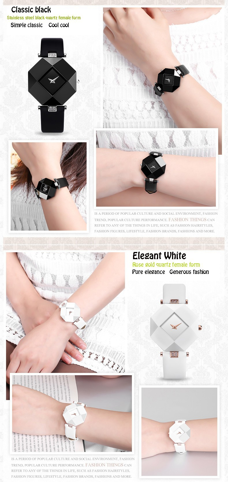 Fashion Sexy Women Dress Sapphire Ceramic Watches Large Dial Square Black White Waterproof Shockproof Relogio Feminino Free