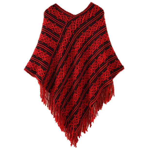Womens Sweater Cardigan Wraps Winter Knitted Shawls Poncho (SP616)