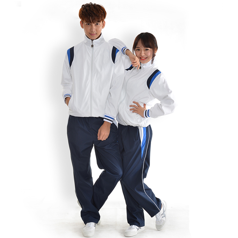 Customized Embroidery Students' Polyester Zipper up Jacket and Pant
