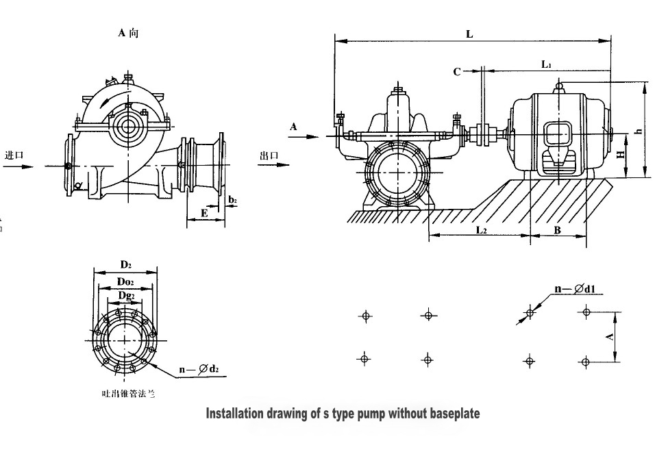 S Types Sea Water Double Suction Centrifugal Pump