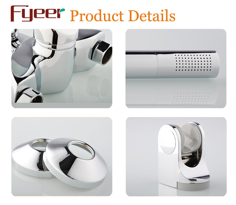 Fyeer Solid Brass Wall Bath Shower Faucet with Diverter