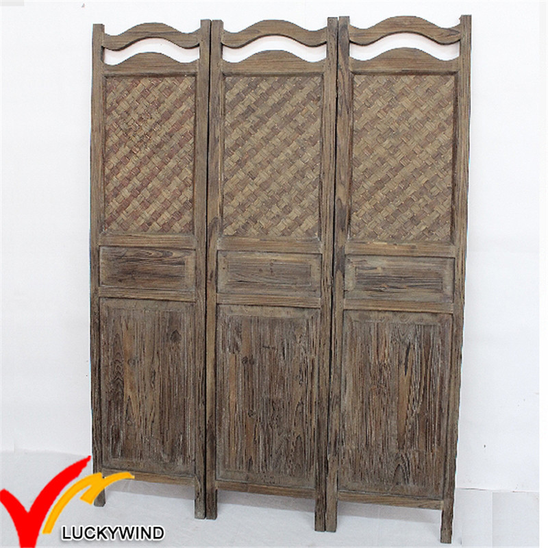 Vintage Antique Wooden Folding Screen Room Divider