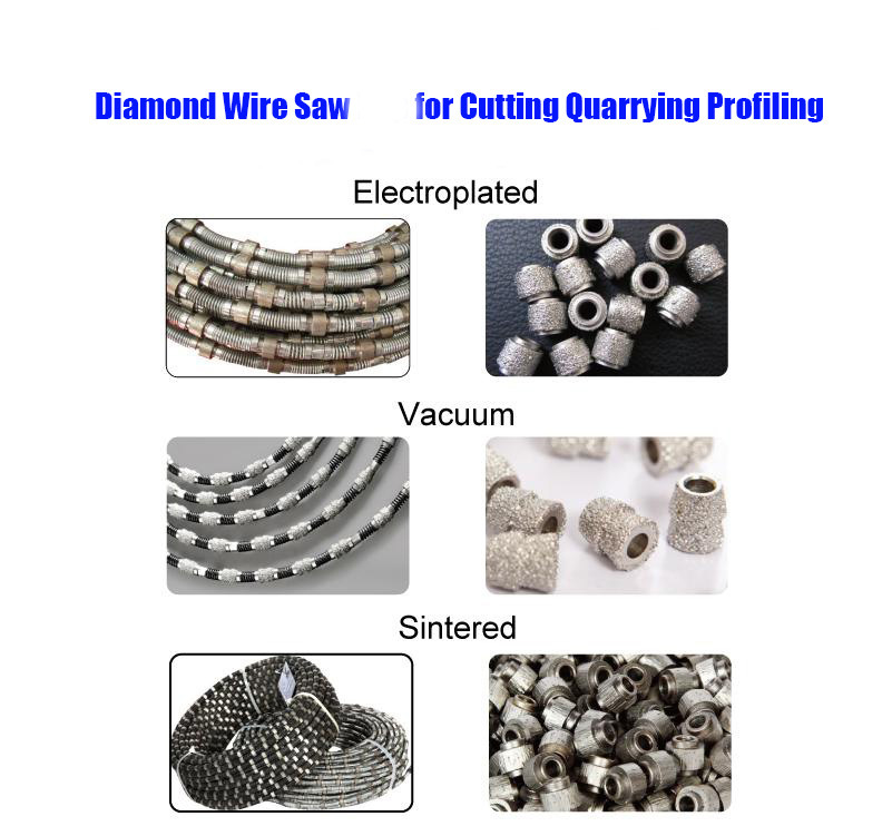 Diamond Wire Saw for Cutting Quarrying Profiling Marble Granite Artificial Stone