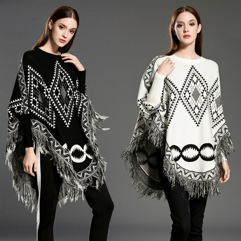 Womens Cardigan Wraps Winter Knitted Cable Fringes Shawls Sweater Poncho (SP618)